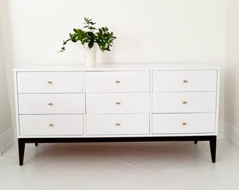 Sold##Lovely mid century modern dresser, credenza. Nine drawer dresser, white and gold, painted furniture nj NYC