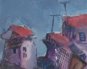 1988 Expressionist cityscape oil painting signed