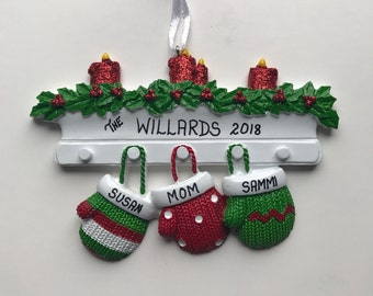 3 Family Mittens Personalized Christmas Ornaments / Family of Three Ornament / Mittens on the Mantel Family Ornament