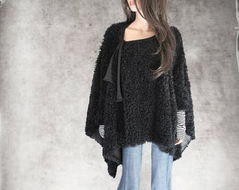 Cape faux fur/poncho black women/cover up soft long hair/stripe cuffs