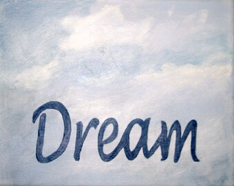Typography Painting - Inspirational Typography - Wall Art - Word Painting - Motivational Art - Cloud Decor - Dreamy Oil Painting- Word Art