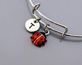 Ladybug Bangle, Ladybug bracelet, Lady bug charm bracelet, Lady beetle, ladybird, Red ladybug, Expandable bangle, Initial bracelet