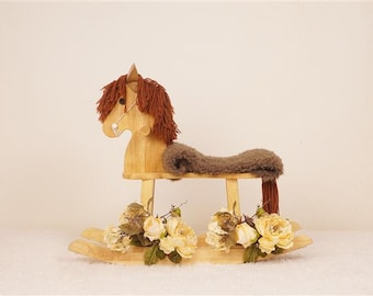 Digital Newborn Backdrop Rocking Horse and Flowers. One of a kind prop!