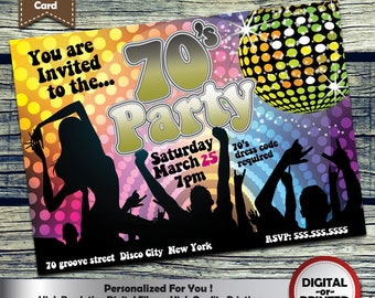 70's Party Invitation Personalized Printable Invite for your theme party + Free Thank You Card