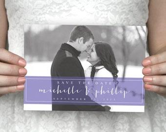 DIY printable unique photo save the date postcard - Michelle & Philip