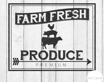 Farm Fresh Produce SVG - Farmhouse Kitchen SVG - Farmhouse Sign File - Kitchen SVG - Fresh Produce Svg - Farm Sign Cut File - Farmhouse Svg