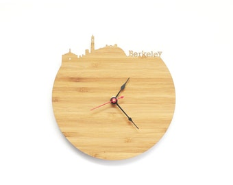 Berkeley Modern Clock - City Skyline Wall Clock - California