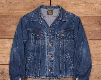 Womens Vintage Lee Faded Dark Blue Denim Trucker Jacket Large 14 R6199