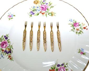 Vintage Cocktail Forks Gold Cocktail Forks Appetizer Forks Horderve Forks Gold Gilded Seed Pearls with Rhinestones Set of 6 Forks