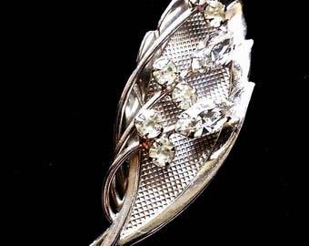Vintage Rhinestone Silver Leaf Brooch, Costume Jewelry