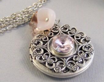 Pink Chiffon,Vintage Necklace,Pink Jewelry,Pink Locket,Locket,Silver Locket,Pink Necklace,October Birthstone,October valleygirldesigns.