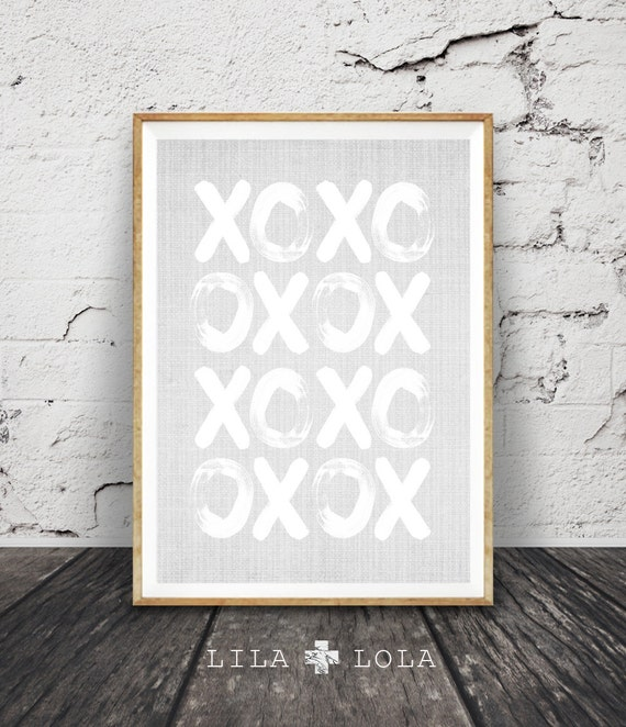 XOXO Wall Art Print, Grey and White Decor, Printable, Instant Download, Typography Poster, Hand Painted Letters, Quote, Scandinavian