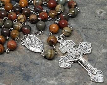 Gemstone Rosary of Picasso Jasper, Red Creek Jasper, St. Joseph Rosary, Pardon Crucifix, 5 Decade Rosary, Catholic Rosary, Men's Rosary