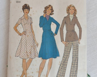 Vintage 1970s dress, top and pants pattern, Simplicity 7177, size 36 inch bust, 1975