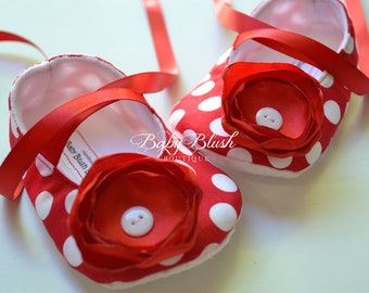 Red with White Dots Baby Shoes Baby Ballerina Slipper