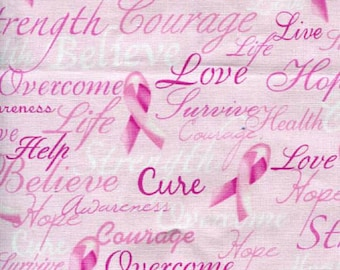 Timeless Treasures - Cancer Awareness - Pink Ribbon Cure Words - Pink - Fabric by the Yard C7659-PNK
