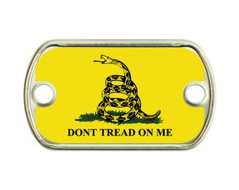 Don't Tread On Me Gadsden Flag 2 Holes Stainless Steel Mini Dog Tag For Paracord Bracelets