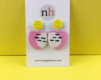 POP colour earrings - bold pink earrings -Polymer clay earrings - big bold earrings -  geometric earrings - made in the uk , Mother's Day
