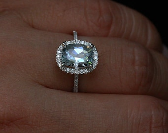 Cushion Aquamarine Engagement Ring in 14k White Gold with Aquamarine Cushion 9x7mm and Diamonds