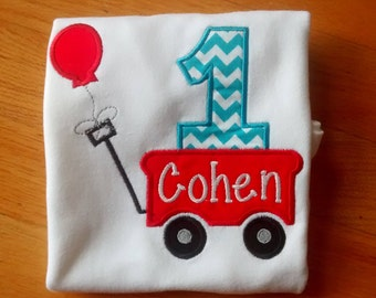 Personalized Little Red Wagon Birthday Shirt
