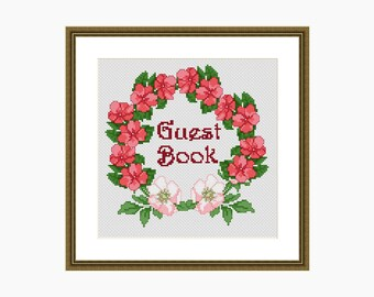 Cross Stitch Pattern, Modern Cross Stitch - 'GUEST BOOK' cross stitch chart - downloadable PDF