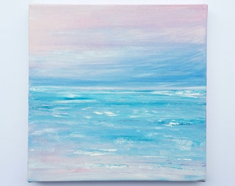 "Original hand painted abstract seascape 'Blissful' - acrylics on canvas - 20cm x 20cm (8"" x 8"")"