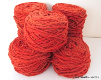 Limited Edition Handspun Hand dyed yarn Bulky Chilean Wool Knitting Multicolour Araucania Chunky Skein Red -Orange 100g 3.5oz