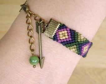 Arrow Bracelet, Jade March Birthstone, Canadian jadeite gemstone, Native american indian, Eclectic ikat gem, Ethnic jewelry, Tribal chevron