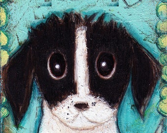 My Dog - Aceo Giclee print mounted on Wood (2.5 x 3.5 inches) Folk Art  by FLOR LARIOS