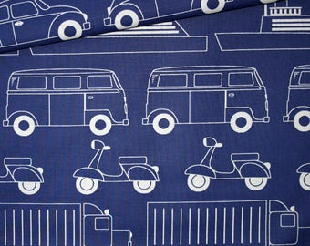Fabric cars, scooters, planes, boats, 100% cotton 50 x 160 cm, trucks, scooters, cars on bottom