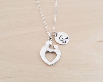 Mother & Child Heart Charm -Personalized Necklace-Custom Initial Necklace -Silver Necklace-Initial Jewelry-Monogram Necklace - Gift for Her