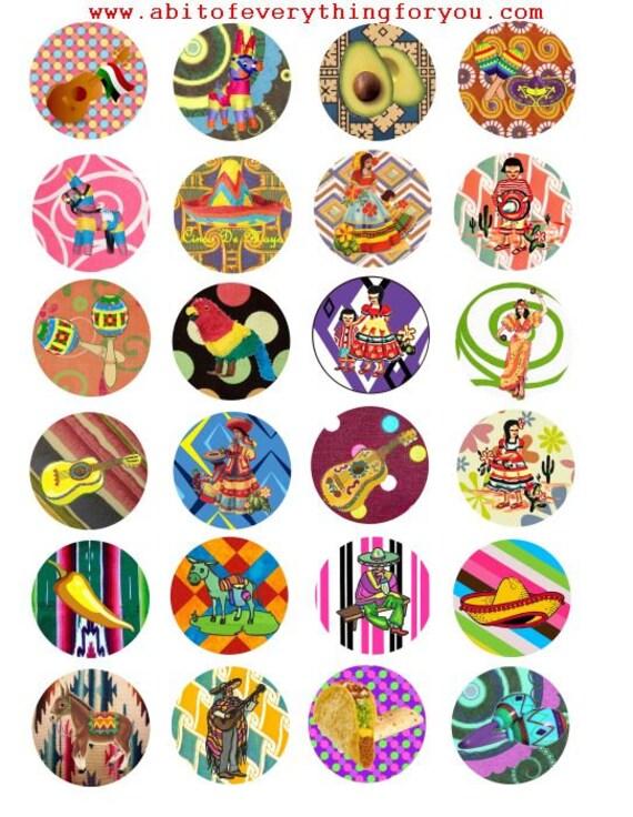 "cinco de mayo senoritas burros mexican art clip art digital download collage sheet 1.5"" inch circle graphics images printables pendants pins"