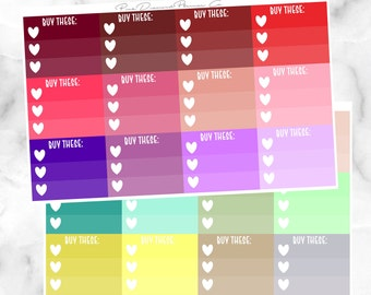 Spring Multicolor Buy These Heart Checkboxes // Functional Stickers