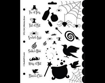 "Witches Brew Stencil - 8 1/2"" x 11"" - SKU:STCL105"