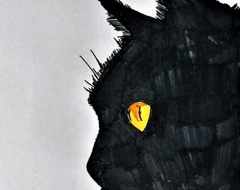 ORIGINAL ARTWORK Black Cat