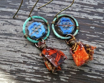 Orange Tassel Earrings - Turquoise and Orange - Boho Blue Earrings - Coin Hoop Earrings - Bead Soup Jewelry - Sari Silk