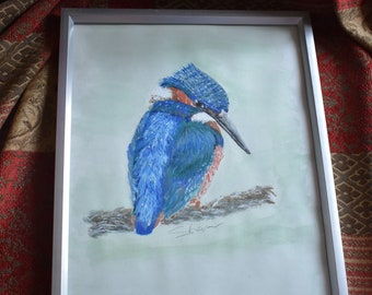 Kingfisher Watercolour Painting Framed 14.5 Inches by 11.5 Inches