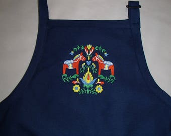 Embroidered Swedish Dala Horse & Flowers on Navy Blue Apron #432R