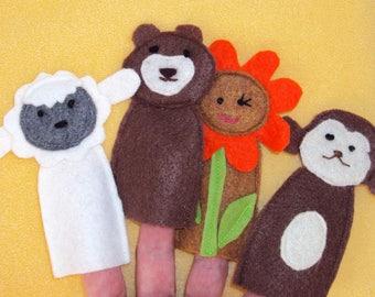 Choisir un ensemble de 4 marionnettes à doigt animaux-moutons et autres bestioles-fait à la main en feutrine