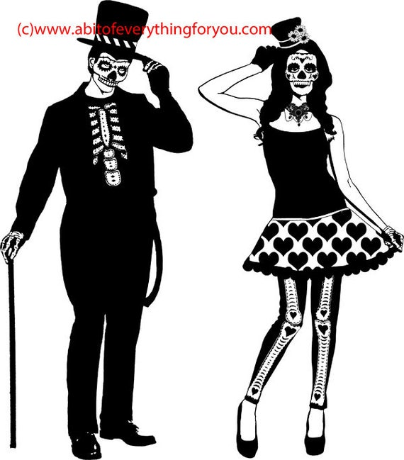 day of the dead clipart png download skeleton skull couple printable art print digital image graphics digital stamp black and white