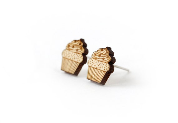Cupcake studs - tiny post cake earrings - mini food jewelry - graphic jewellery - lasercut maple wood - hypoallergenic surgical steel