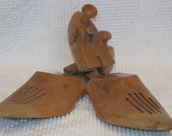 Set of Vintage wooden shoe stretchers men's 1950's decorative accent farmhouse shabby cottage chic primtive rustic home decor