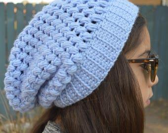 Crochet Slouchy Periwinkle Blue Beanie, Crochet Beanie, Slouch Beanie, Women Slouchy Beanie, Crochet Slouchy Hat, Women Slouch Crochet Hat