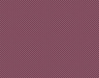 Purple Dot Fabric - Posy Garden Grid Purple - Plum Cotton