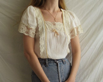 70s Gauzy Cotton Peasant Top XS S