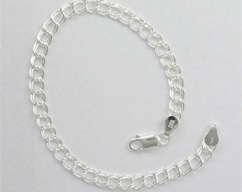 Sterling Silver Double Link Charm Bracelet, Choice of Thickness & Length