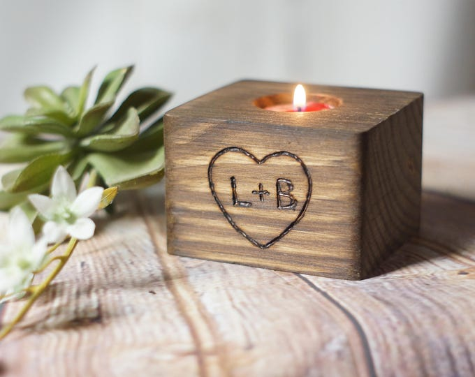 Featured listing image: Custom Engraved Reclaimed Wood Candle Holder, Personalized Couple Gift, 5th Anniversary, Engagement Present, Bridal Shower
