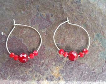 Medium Sized Red Beaded Silver Hoop Earrings