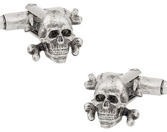 Skull & Crossbone Cufflinks - Oxidized for Character - Includes Gift Box