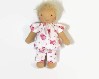 8 inch slim Waldorf doll pajamas, white and pink rose cotton set, waldorf doll clothes, handmade